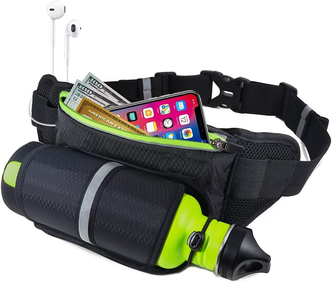 Bothink Running Belt, Waist Pack with Water Bottle Holder, Waterproof Running Belt for Men Women, Fits Running, Jogging, Hiking Walking or Cycling Outdoor