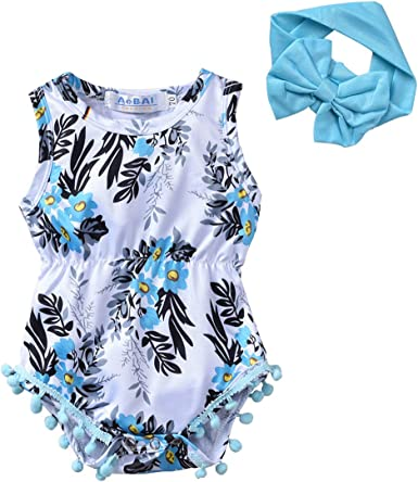 Headband BFUSTYLE Newborn Toddler Baby Girl Floral Bodysuit Romper Summer Casual Outfit