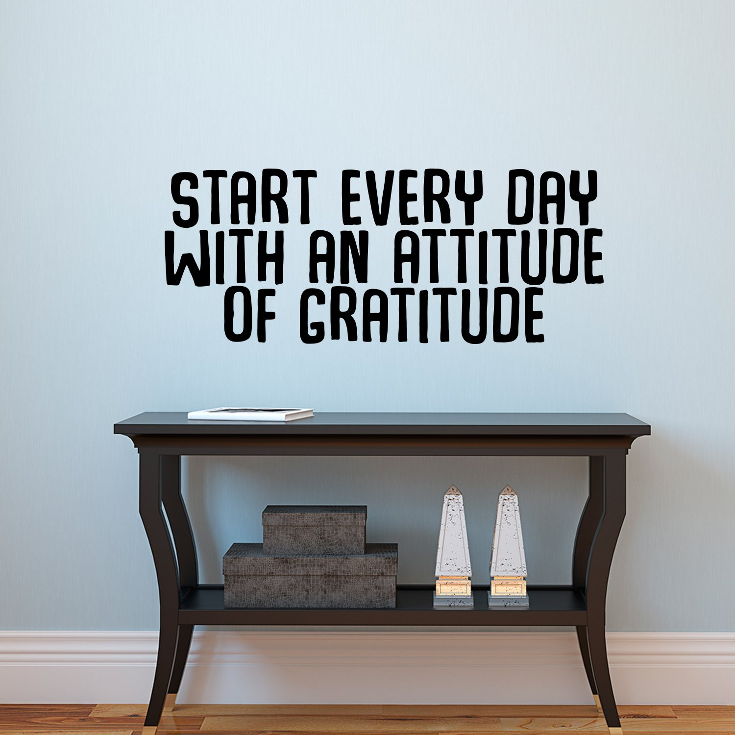 Vinyl Art Wall Decal - Start Every Day With An Attitude Of Gratitude - 14'' x 35'' - Motivational Life Quotes - Home Office Wall Decoration - Positive Thinking - Bedroom Living Room Wall Decor