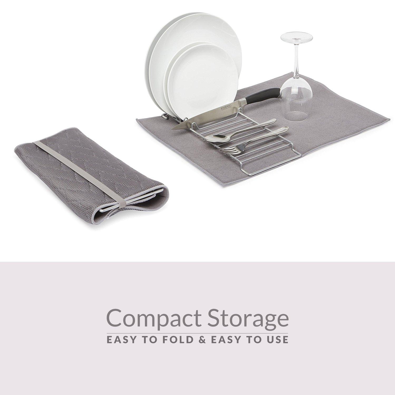 61d5badd5bf2 Dish Drying Rack & Microfiber Dish Mat - Mini Dish Rack and Dish Drainer  Drying Mat Folds for Maximum Dishes and Utensils, Minimal Storage, Kitchen  Space ...