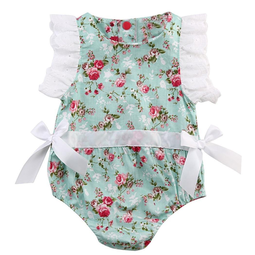 Fossen Fossen Recien Nacido Niña Peleles de Floral Encaje Verano Bebe Ropa