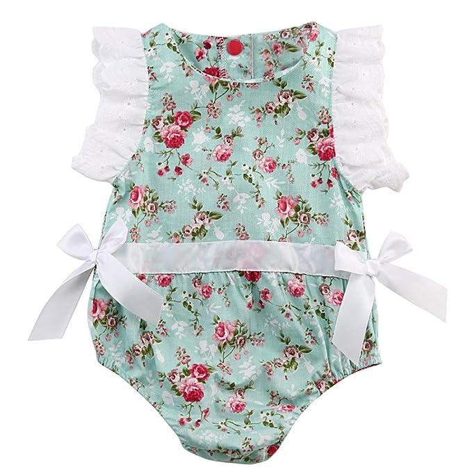 Fossen Fossen Recien Nacido Niña Peleles de Floral Encaje Verano Bebe Ropa   Amazon.es  Ropa y accesorios 987586dffb0