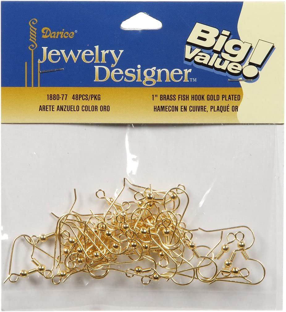 Darice 1880-77 Fish Hook or French Earring Wires Gold 48ct 20mm