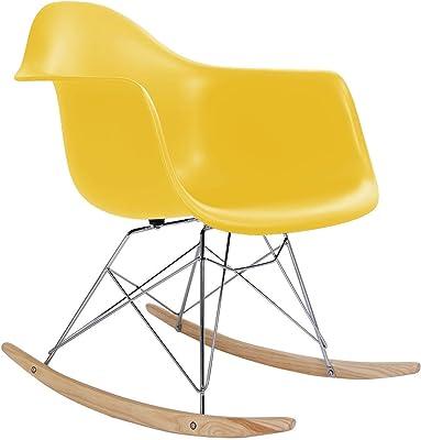 Classic Rocking Chair Rocker Shell Arm Chair Mid Century Molded Armchair Heavy Duty Plastic Yellow #295