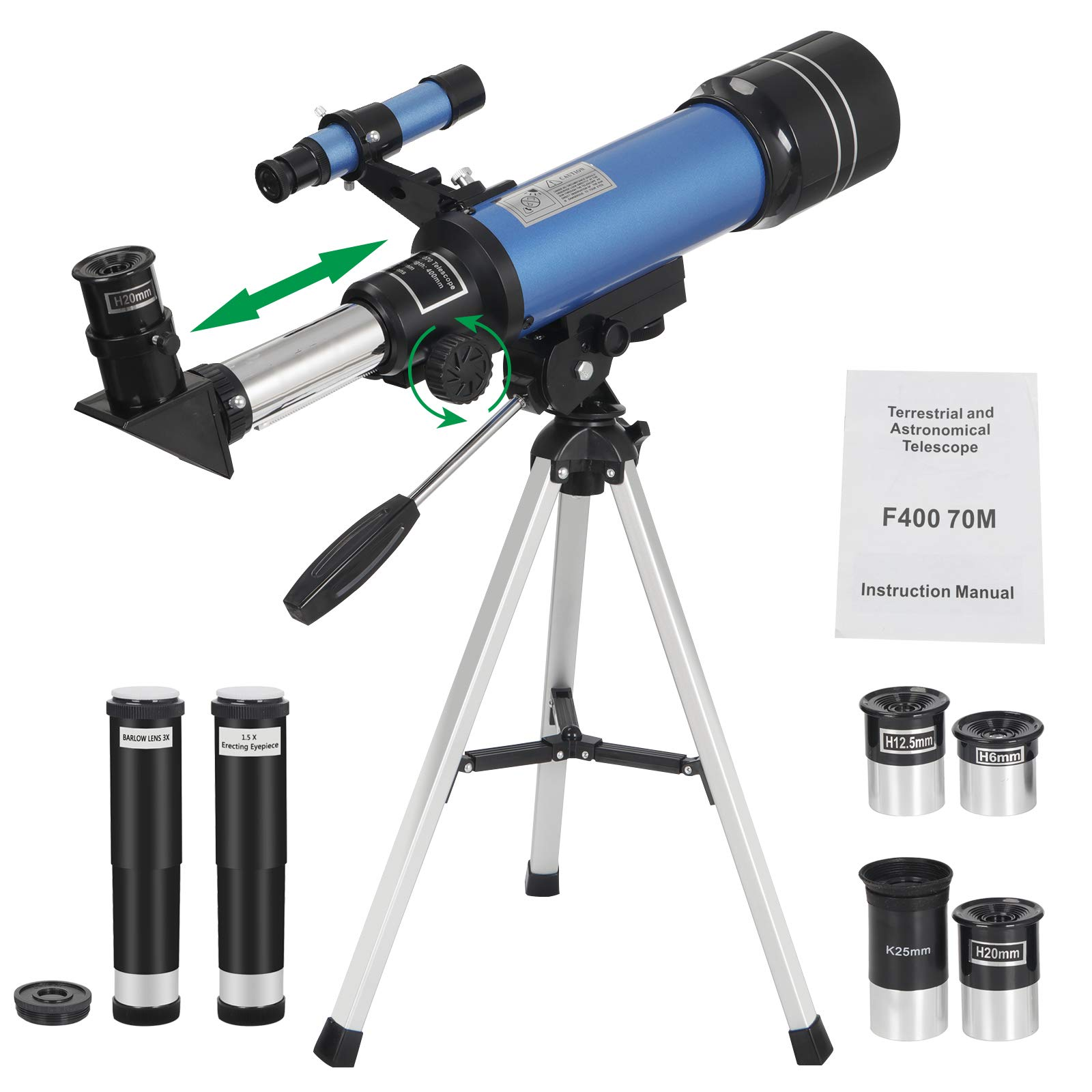ZENY 70mm Refractor Telescope with Tripod & Finder Scope, 16X - 200X Magnification Travel Scope with 3 Magnification eyepieces & Moon Mirror Portable Telescope for Kids & Astronomy Beginners