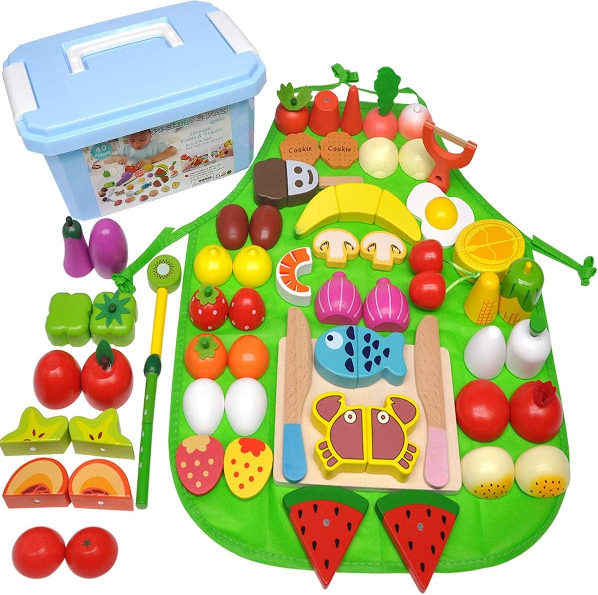 GYBBER&MUMU Play Food Set 40 Pieces,100% Wood Play Kitchen Set Pretend Food Playset Toys