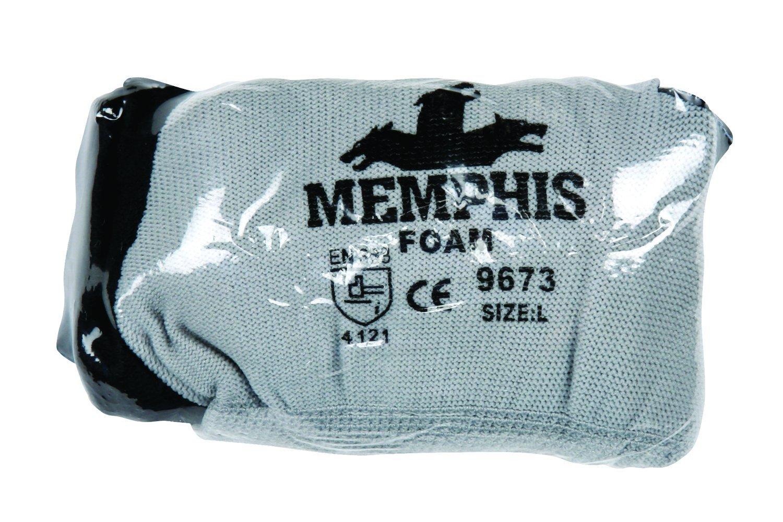 Memphis Glove 96731M Flex Seamless Nylon Knitted Memphis Gloves with Blue Foam Latex Dipped Palm And Finger, Blue/Gray, Medium, 1-Pair