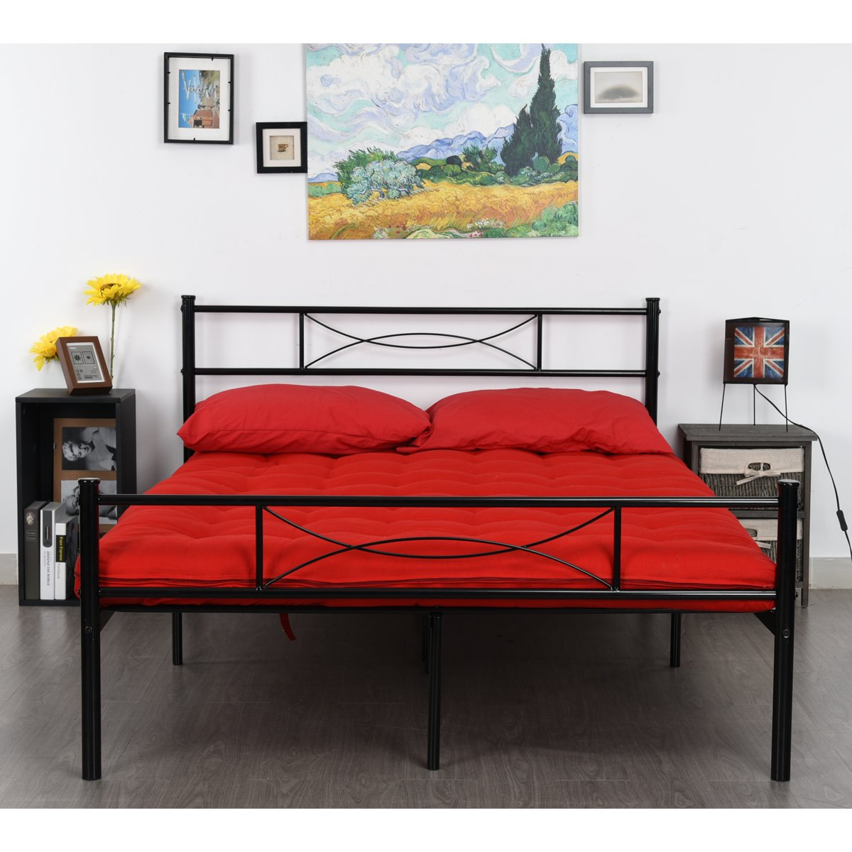 GIME Metal Bed Frame Full Size, 10 Legs Mattress Foundation Two Headboards Black Platform Bed Frame Box Spring Replacement, Black