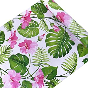 SimpleLife4U Hawaii Flower Style Furniture Paper Self-Adhesive Shelf Liner Makeup Jewelry Cabinet Decor 17.7 Inch By 9.8 Feet