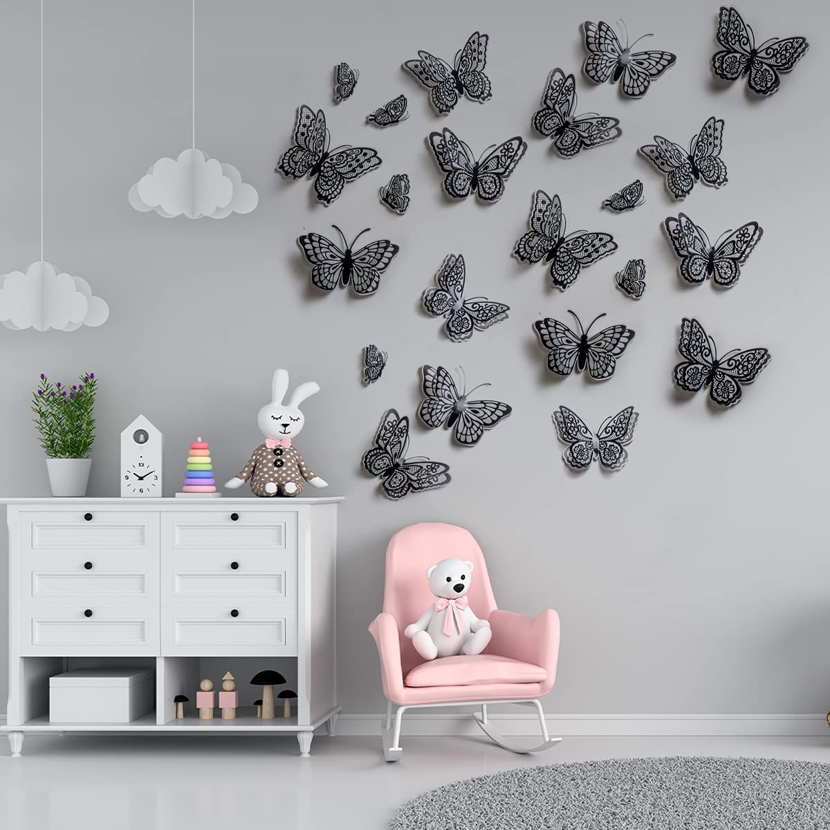 Butterfly Wall Decor for Girls Room Decals 3D- Glow in The Dark Ceiling Stickers (Black Butterfly - 22 Pcs)