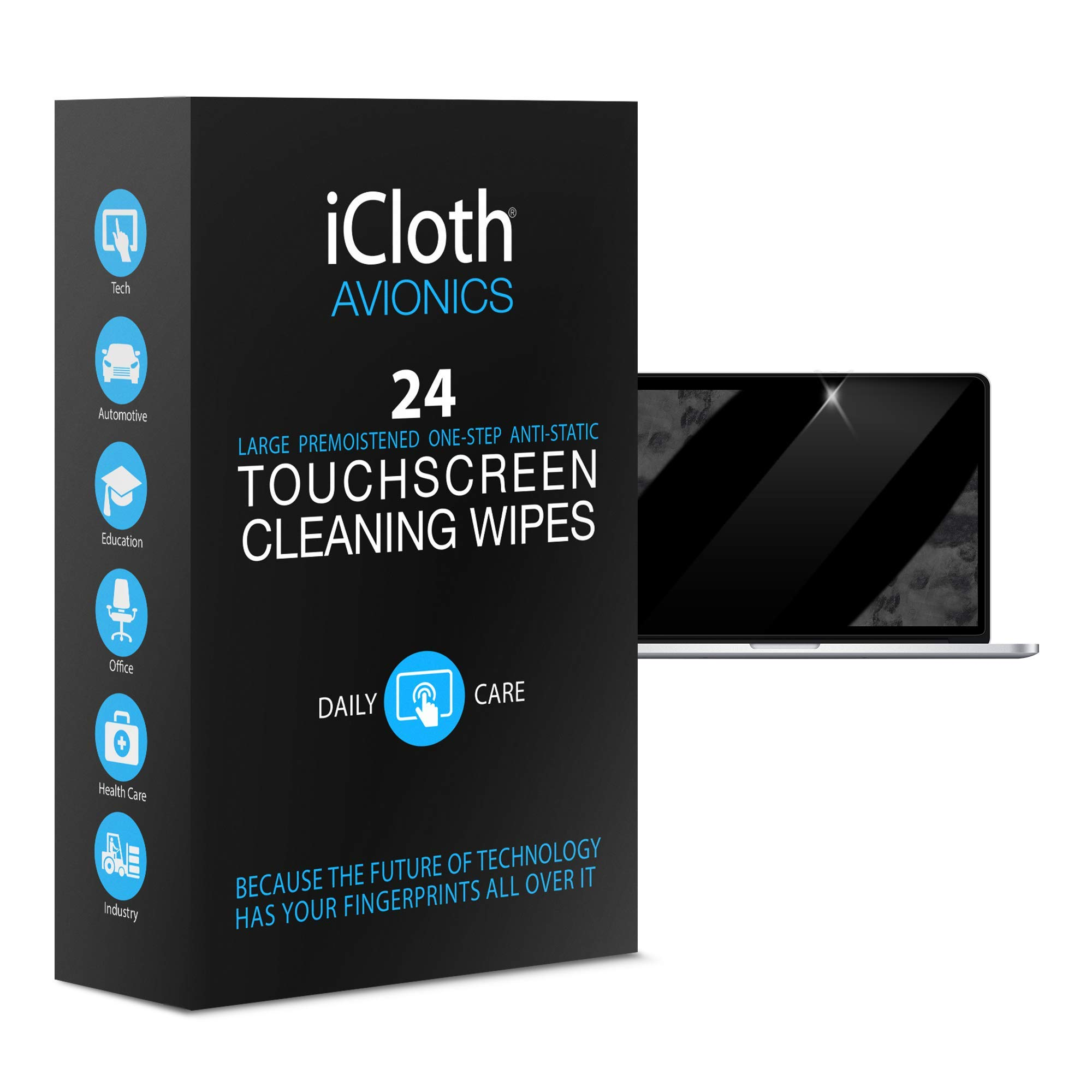 iCloth Large Screen Cleaning Wipes - Cleans and Protects a Computer Monitor, a Gaming PC a Touchscreen Desktop, a TV LED or LCD, Aviation and Automotive displays | iCA24 | 24 Wipe Box