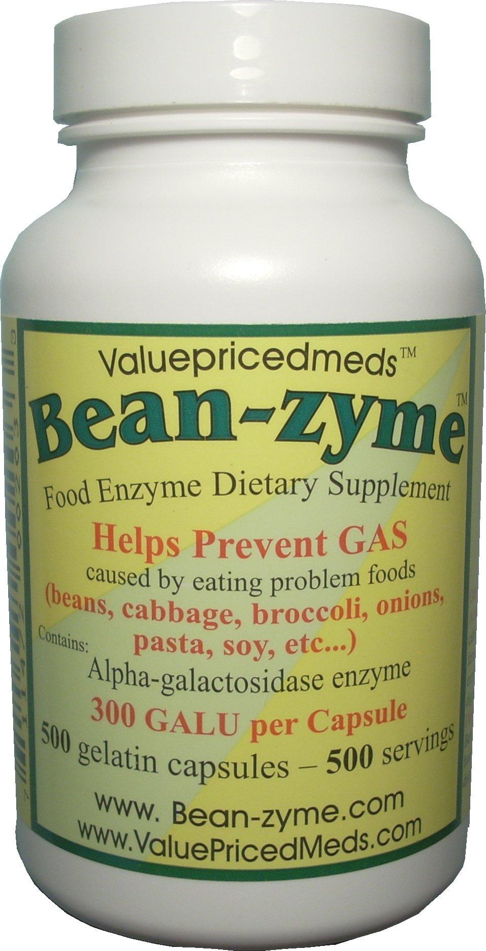 500 ct Bean-zyme anti-gas 300 GALU/cap vs Beano 150 GALU/tab