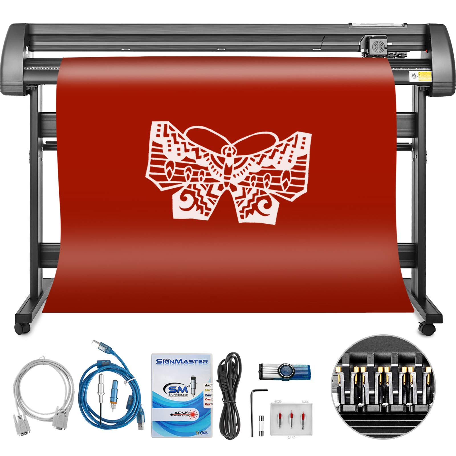 Mophorn Vinyl Cutter 53 Inch Vinyl Cutter Machine 1340mm Vinyl Printer  Cutter Machine LCD Display Vinyl Plotter Cutter Machine Signmaster Software