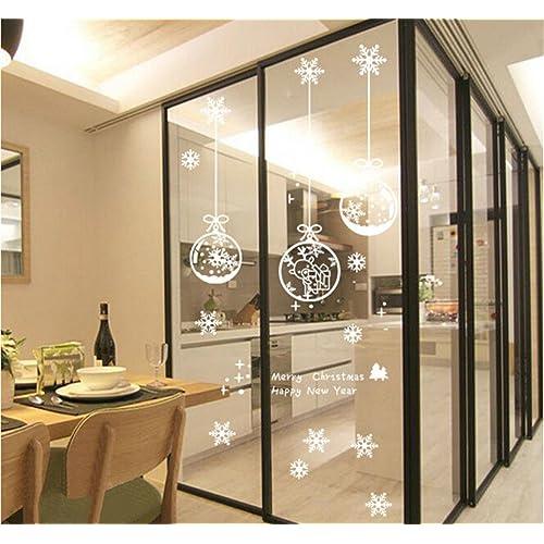 ufengke Joyeux Noël Bonne Année Boule de Noël Blanc et Flocon de Neige Vitrine Stickers Muraux, Salle de Séjour Chambre À Coucher Autocollants Amovibles