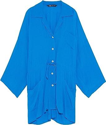 Zara 4043/242 - Blusa con Bolsillos para Mujer Azul Azul M ...