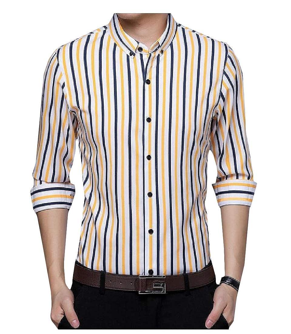 Macondoo Mens All-Match Button Down Long Sleeve Top Striped Shirts