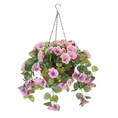 "OakRidge Miles Kimball Fully Assembled Artificial Petunia Flower Hanging Basket, 10"" Diameter and 18"" Chain – Polyester/Plastic Flowers in Metal and Coco Fiber Liner Basket for Indoor/Outdoor Use: Home & Kitchen"