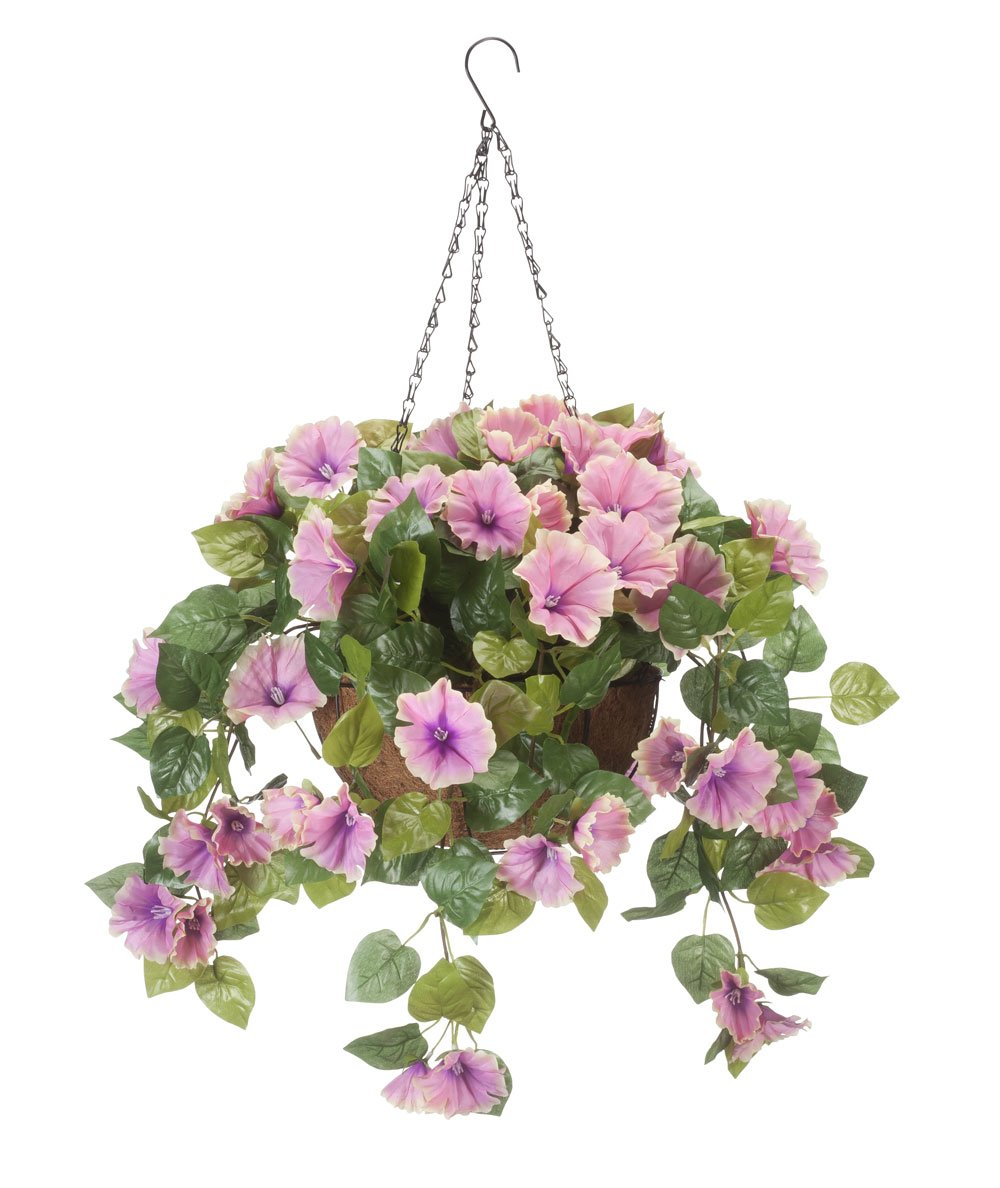 OakRidge Miles Kimball Fully Assembled Artificial Petunia Flower Hanging Basket, 10 Diameter and 18 Chain Polyester Plastic Flowers in Metal and Coco Fiber Liner Basket for Indoor Outdoor Use