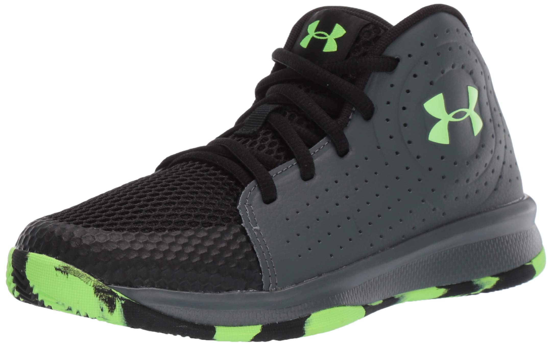 Under Armour Unisex Pre School Jet 2019 Basketball Shoe, Pitch Gray (100)/Black, 1 M US Little Kid