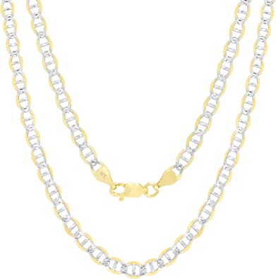 14K Solid Yellow Gold Chain Anchor Mariner Link Chain Necklace All Sizes