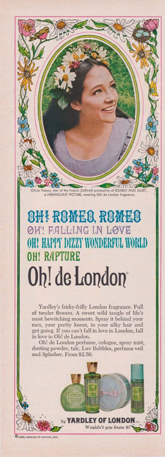 OLIVIA HUSSEY YARDLEY OH! DE LONDON FRAGRANCE AD 1969 ROMEO & JULIET Vintage Magazine Advertisement: From Collector-magazines: Amazon.com: Books