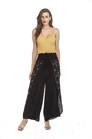 baa73fcee1fc2 Yinglizi Women's Palazzo Pants Casual Elastic Waist Band Adjustable Wide  Leg Pants Free Size