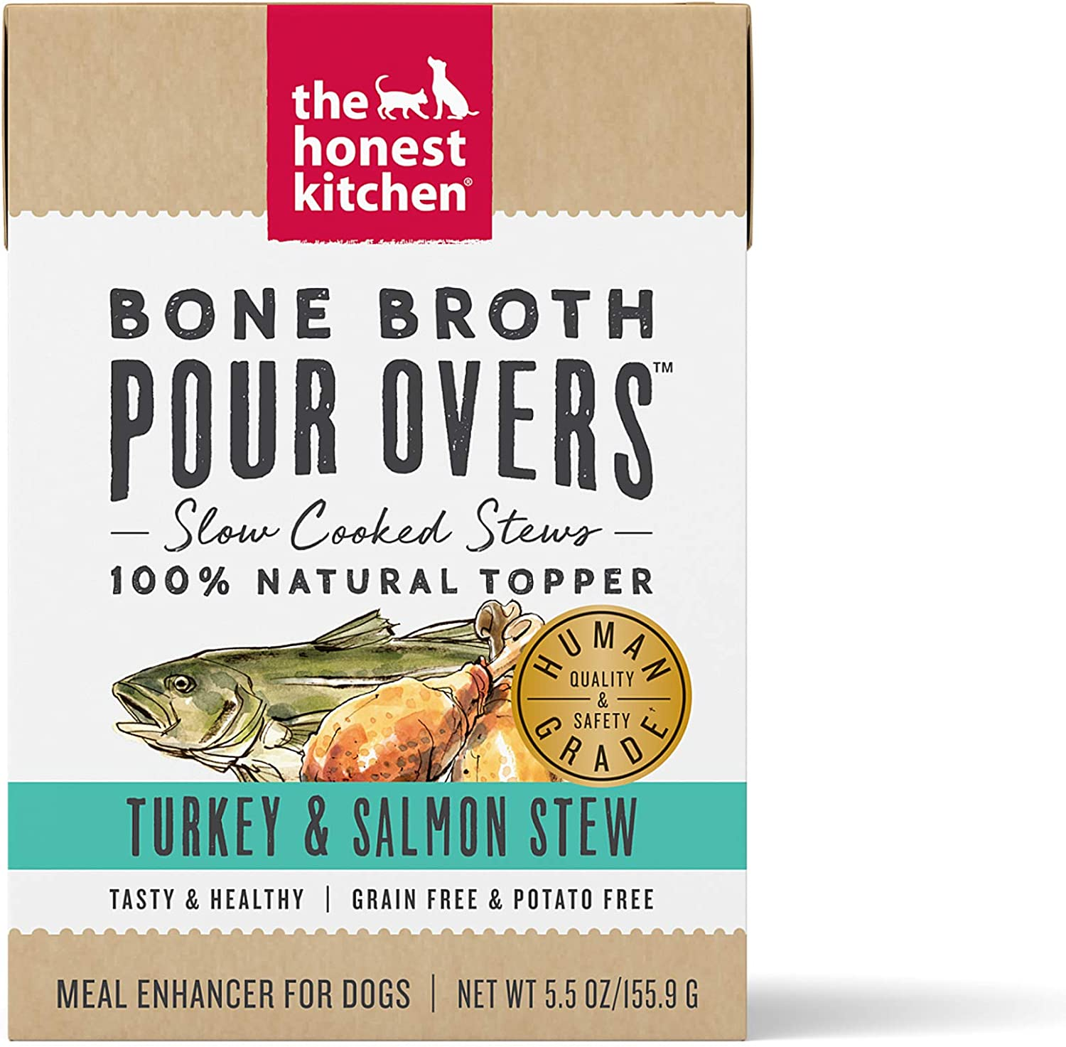 The Honest Kitchen Bone Broth Pour Overs Wet Toppers for Dogs (12 Pack), 5.5 oz