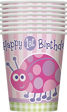 Unique Party- Vasos de Papel: Primer Cumpleaños de Mariquita, 8 Unidades, Color rosa, 266 ml (40396)