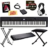 Casio Privia PX-350 Digital Piano - Black Bundle with Adjustable Stand, Bench, Dust Cover, Headphones, Sustain Pedal, Instructional Book, Austin Bazaar Instructional DVD, and Polishing Cloth