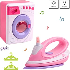 Vokodo Washer And Flatiron Playset With Lights And Music Includes Two Hangers Functional Iron Spray Pretend Play Washing Machine Early Learning Kids Preschool Toy Great Gift For Children Girls Toddler