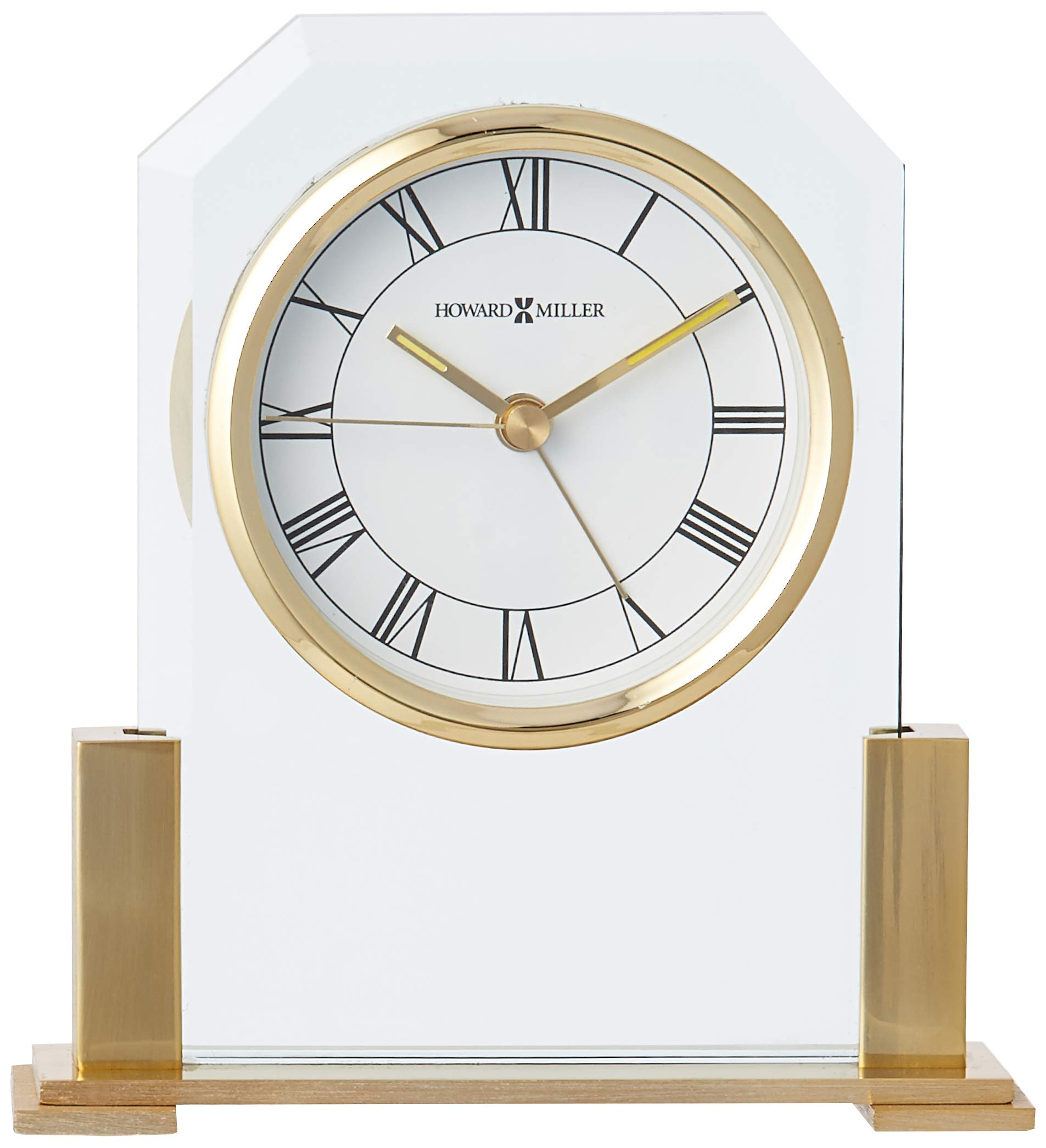 "Howard Miller 613-573 Paramount Table Clock - Polished brass-finished and beveled glass alarm clock. White dial with black numerals and luminous insets on the hour and minute hands, and a glass crystal. .75"" x 2.5"" Brass plate included for personalization.  (customization charges are additional) - clocks, bedroom-decor, bedroom - 71XIRm 2V9L -"
