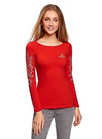 2a8961ae8e5 oodji Collection Femme T-Shirt en Coton à Manches Longues