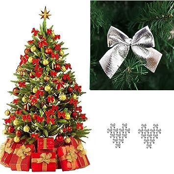 Weihnachtsbaum Rot Silber.Amazon De Sunnymi 24pcs Rot Gold Silber Bowknot Weihnachtsbaum