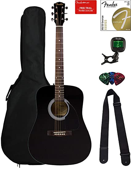 Amazon.com: Fender FA-115 Dreadnought Acoustic Guitar - Black Bundle with Gig Bag, Tuner, Strings, Strap, and Picks: Musical Instruments