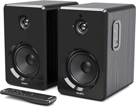 Majority D40 Par de Altavoces Activos de estantería HiFi estéreo con Cable, Altavoces de Ordenador/PC con Amplificador y Opciones de Audio y Sonido, ...