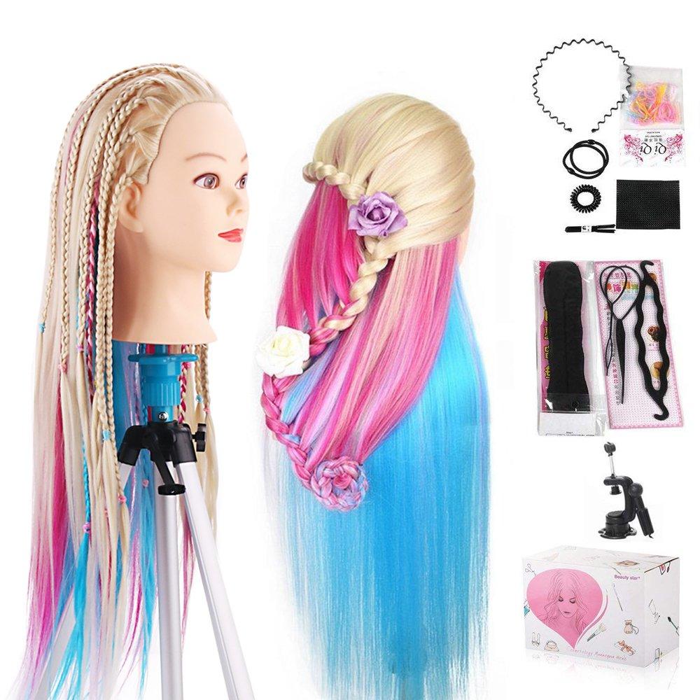 Cabeza Peluqueria, Beauty Star Cabeza Maniqui Peluqueria Pelo Sintético incluye abrazadera soporte y accesorios ideal para Practicar Peinados, 66cm-75cm Beautystar