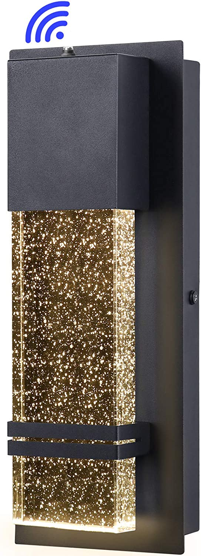 PARTPHONER Integrated LED Wall Lantern,Modern Wall Sconce Dusk to Dawn Outdoor Light Fixtures Wall Mount Porch Light 12W Lumen 3000K for Doorway Garden Hallway Patio Living Room