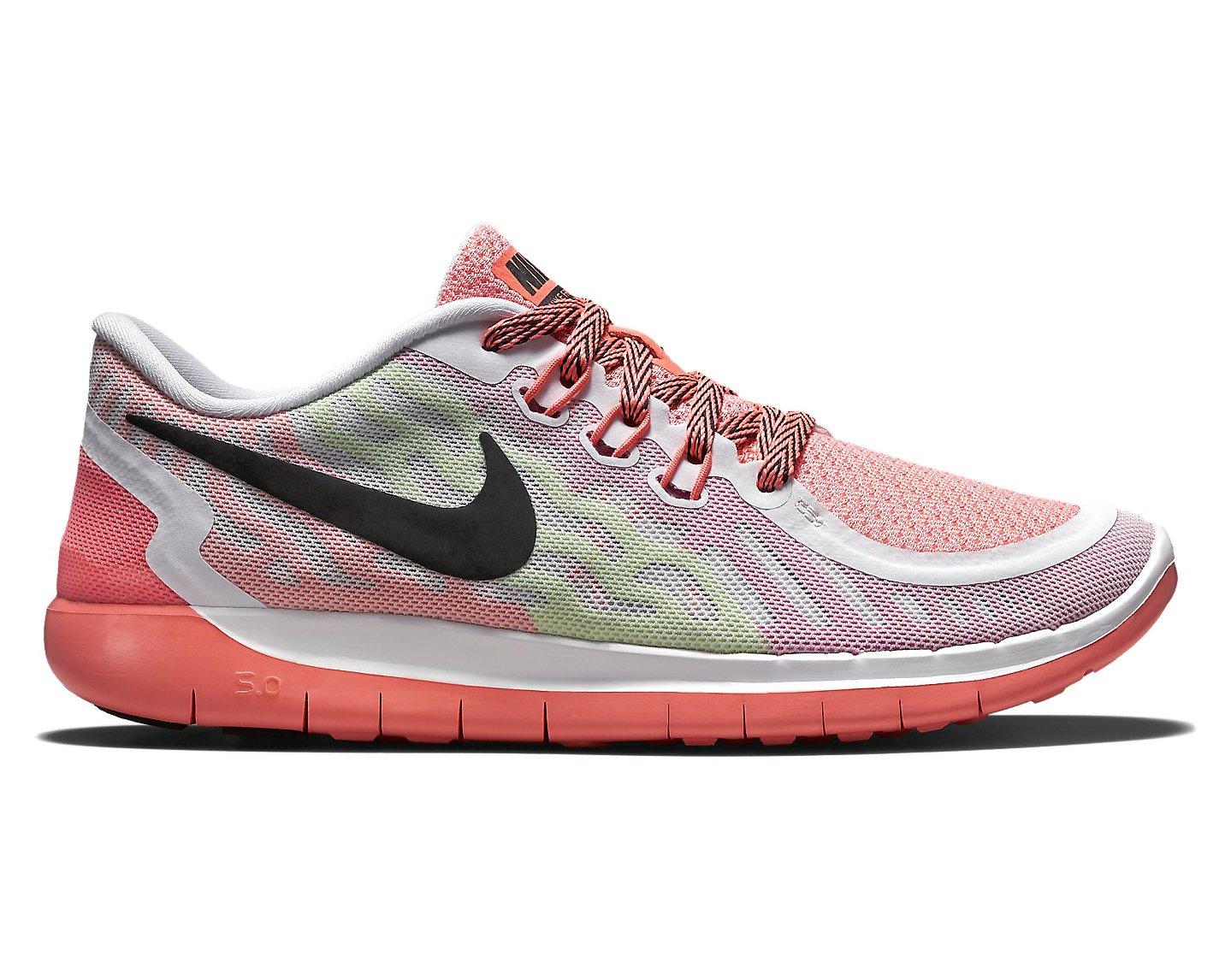 Nike Kid's Free 5.0 Running Shoe White/Pink Pow/Lava Glow/Black 5.5Y