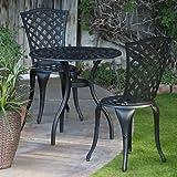 Ideal  Piece Bistro Set Cast Aluminum Patio Furniture for Outdoor in Black Finish
