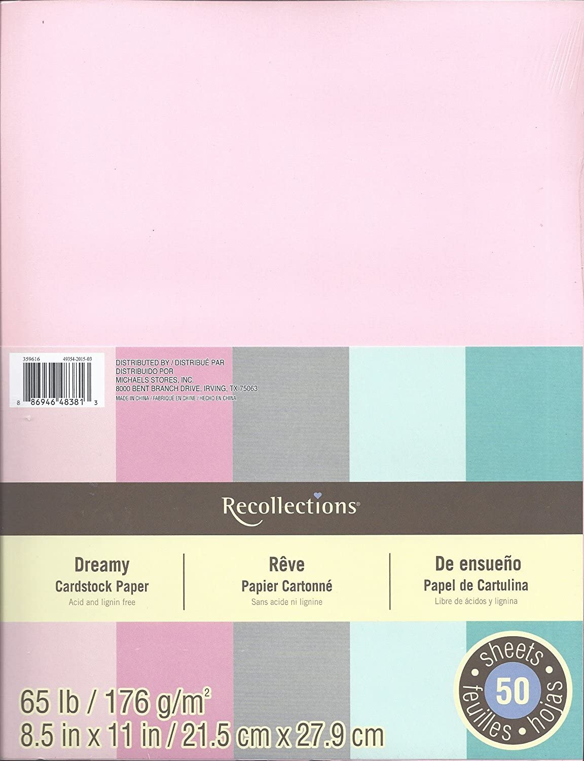 8 1//2 X 11 Primary Colors New 50 Sheets Recollections Cardstock Paper