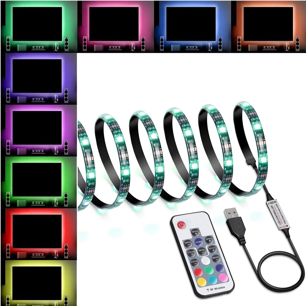 LED Strip Lights 60 LED Changing Color Strip Kit,USB Powered 5V SMD 5050 Flexible Waterproof TV Back light with 17 Keys Remote Control for TV Background Lighting