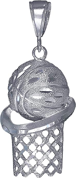 925 Sterling Silver Basketball Hoop Charm and Pendant