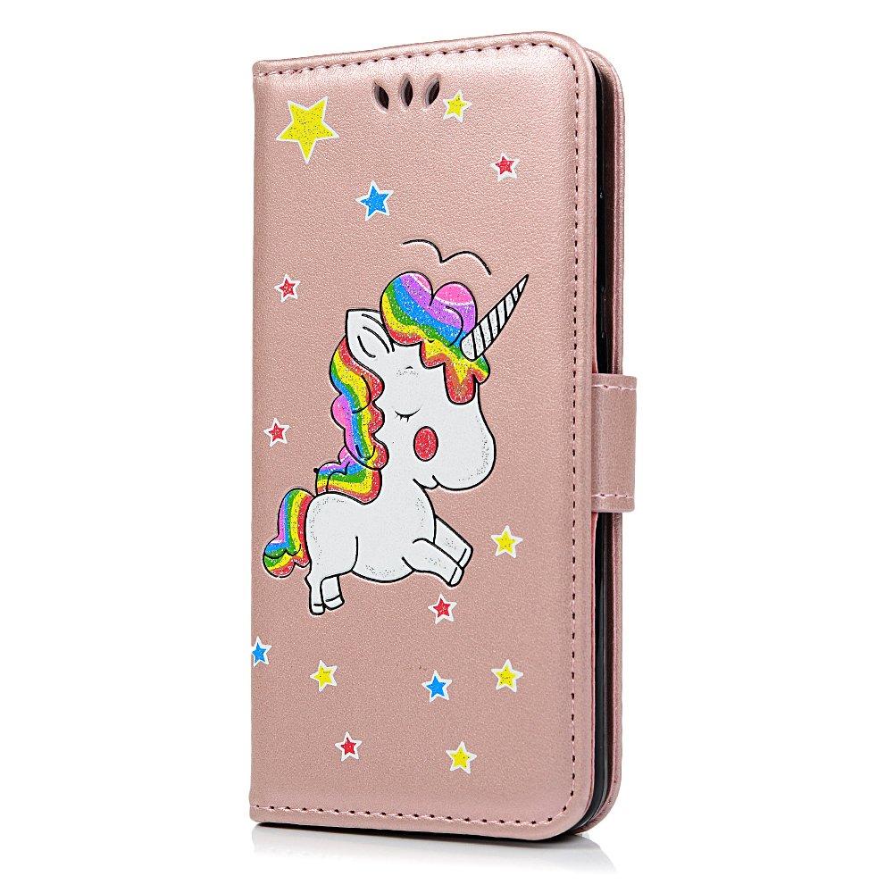 Tophung Funda de piel sintética con tapa para Huawei P10 Lite (cierre magnético, función atril, con función atril, con función atril, con tarjetero), diseño de unicornio, azul