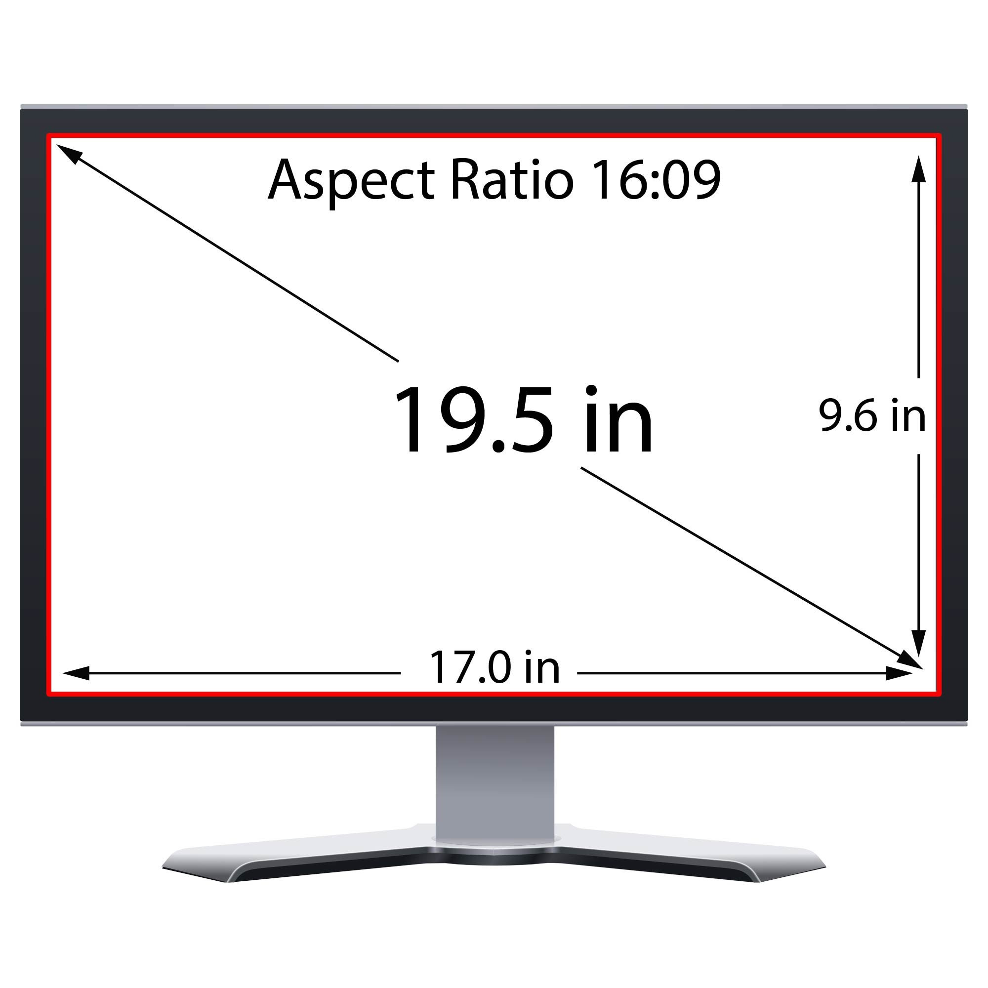 Privacy Screen Filter and Anti Glare for 19.5 Inches Desktop Computer Widescreen Monitor with Aspect Ratio 16:09 Please check Dimension Carefully