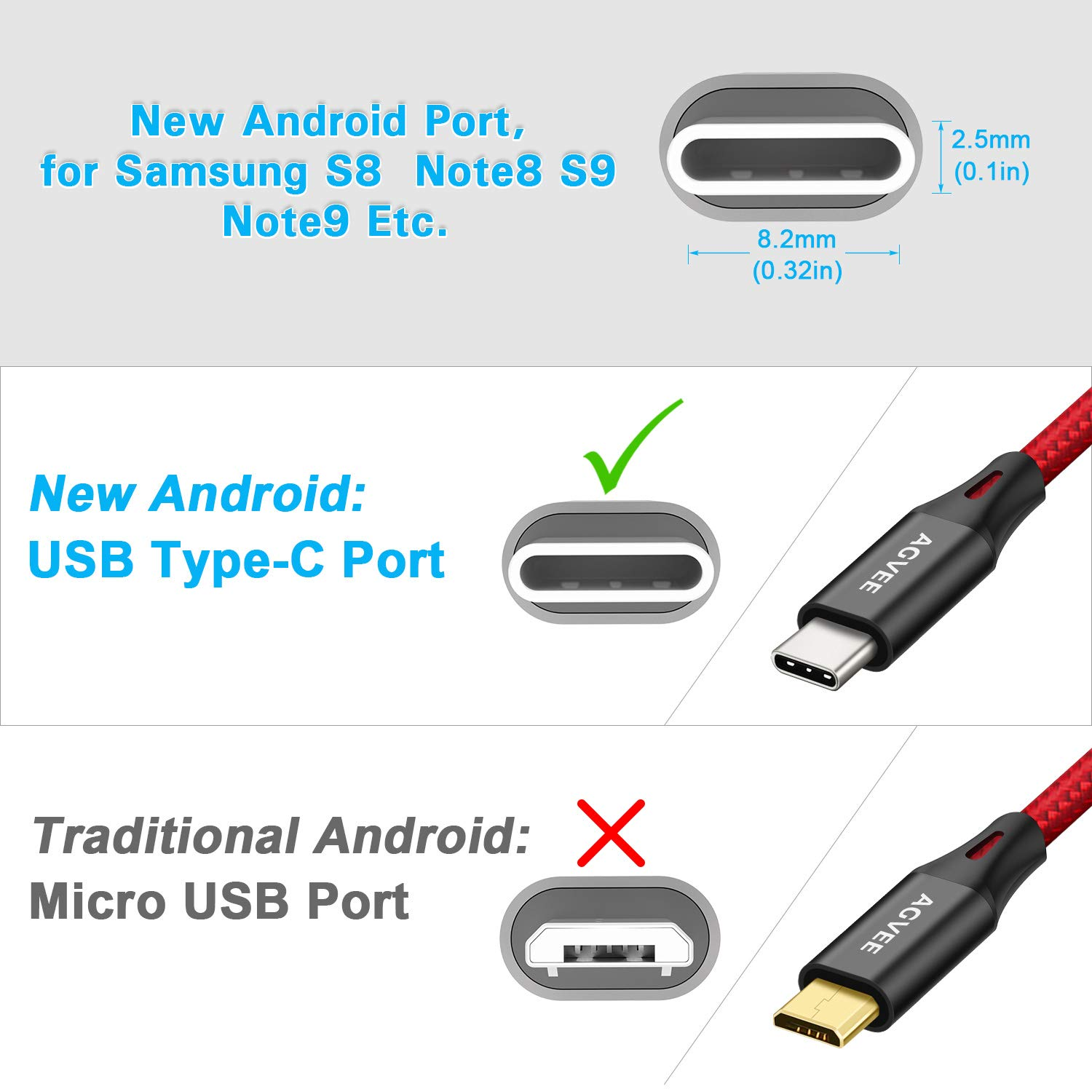 Agvee 3A Heavy Duty USB-C Charger Cable [3 Pack 6.8ft] Seamless USBC Tip, Braided Type-C Charger New Android Phone Cord for Samsung Galaxy (2017 2018) ...