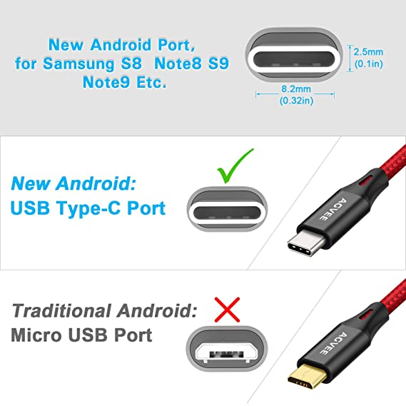 Agvee 3A Heavy Duty USB-C Charger Cable [3 Pack 3.6ft 6.8ft 10ft] Seamless USBC End Tip, Braided Type-C Phone Charger Cord for ZTE [Blade ...