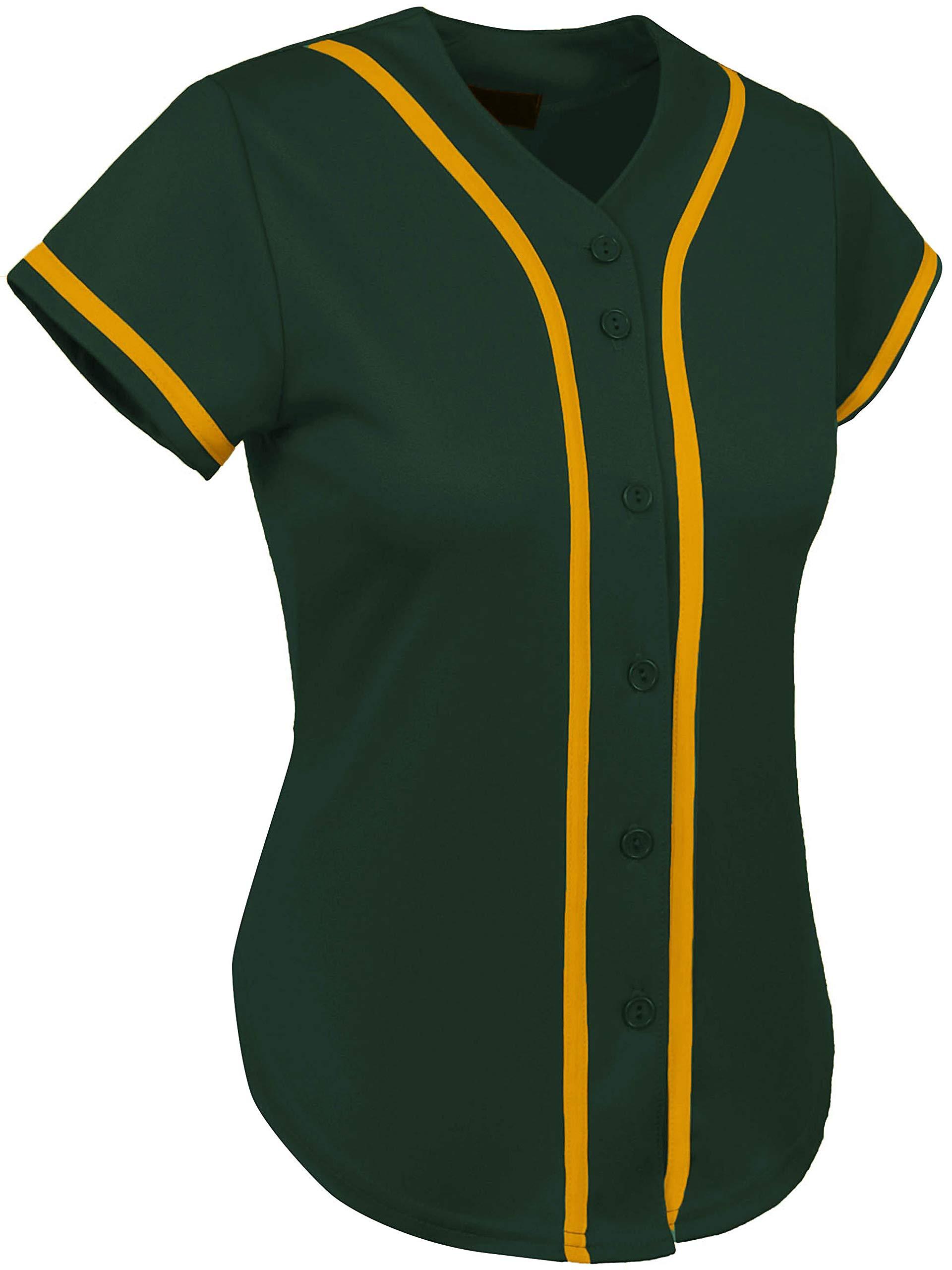 Ma Croix Womens Premium Baseball Jersey Active Button Shirt Team Uniform (2X-Large, 3up01_Hunter Green/Gold) by Ma Croix