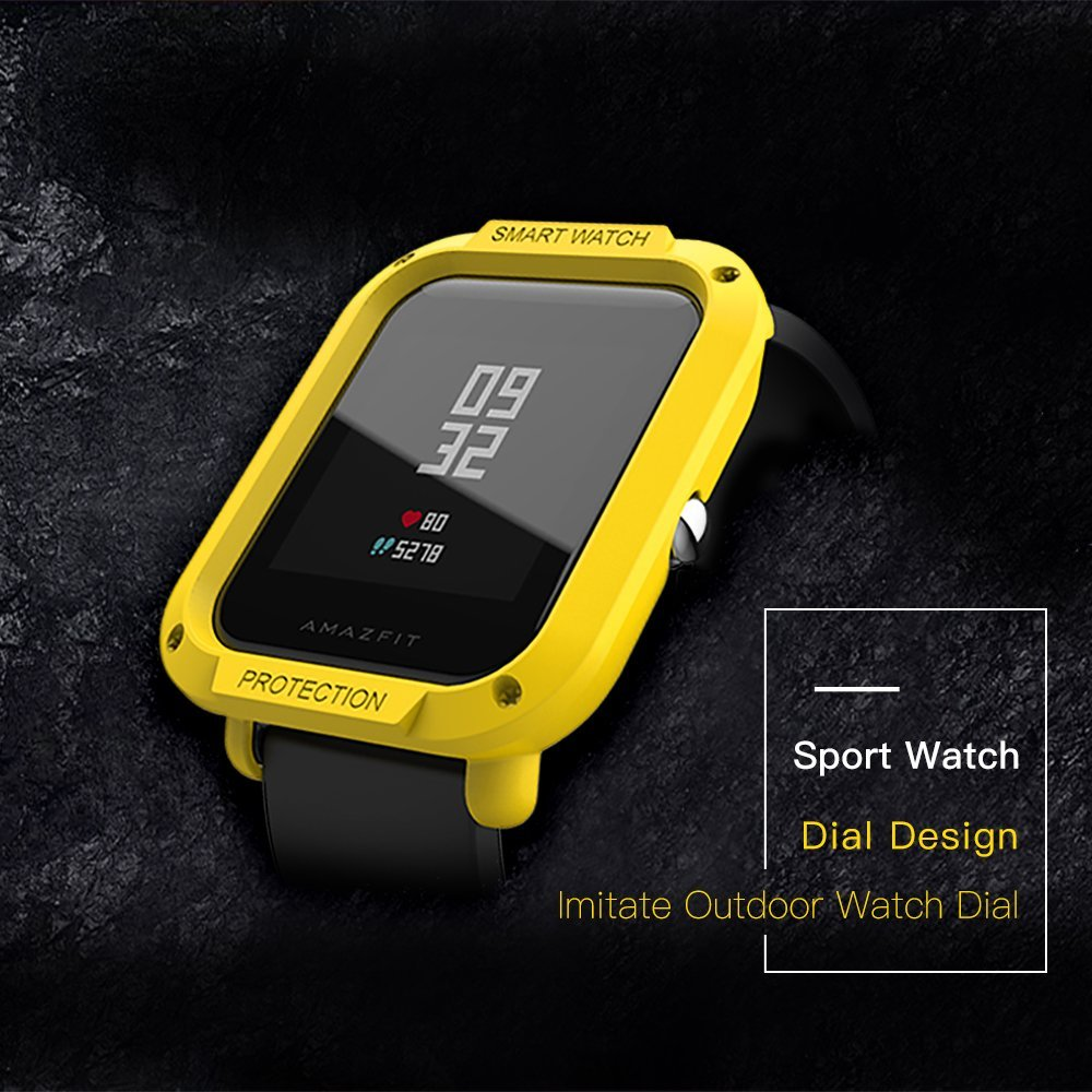 For Amazfit Bip Bumper Case Cover Sikai Hard Pc Anti Scratch Xiaomi Pace 2 Stratos Shell Frame Protector Protective Colorful Skin Huami Smart Watch Midnight