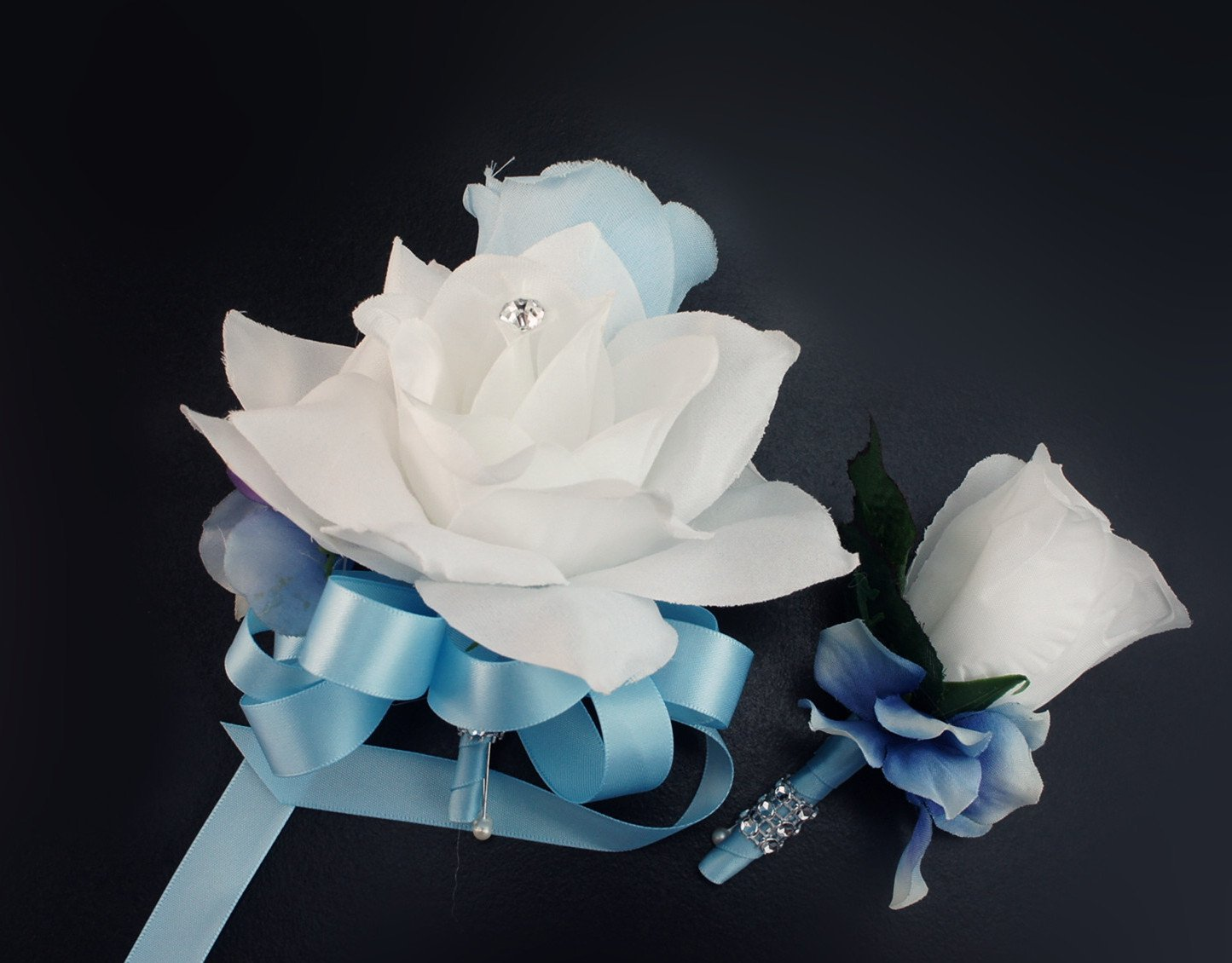 Angel Isabella 2pc Set – Pin Corsage and Boutonniere – Baby Blue and White Rose Hydrangea