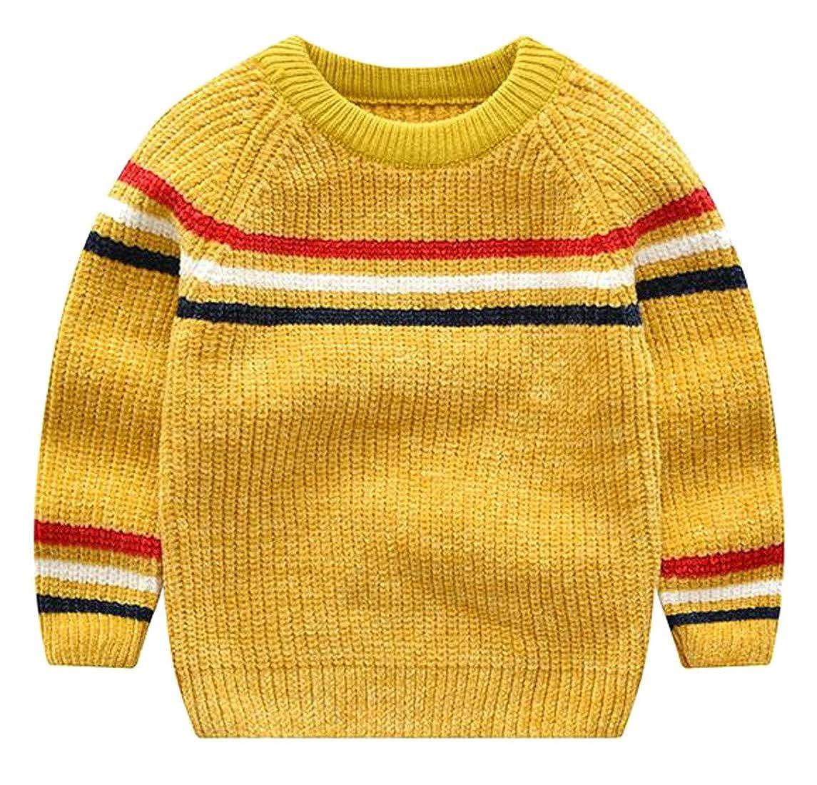 1754812368a8 Amazon.com  Wofupowga Boys Striped Loose Knitted Raglan Sleeve ...